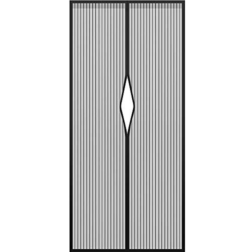 Excellentas Tür Magnet Fliegengitter magnetischer Türvorhang ohne Bohren für Balkontür, Terassentür, Kellertür Moskitoschutz Insektenschutz Klebemontage 210 x 90 m in Schwarz