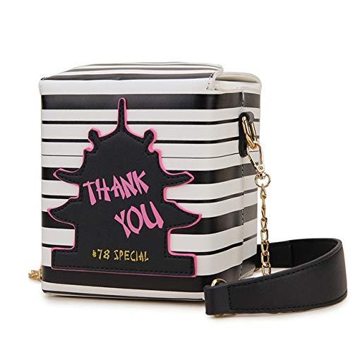 Mdsfe Takeaway box wallet Pu leather ladies handbag novelty fashion messenger bag female shoulder bag - Stripe black