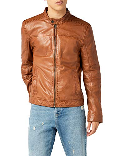 Kings on Earth Chaqueta de Cuero Estilo Biker Hombre, Marrón (Cognac Cog), Small