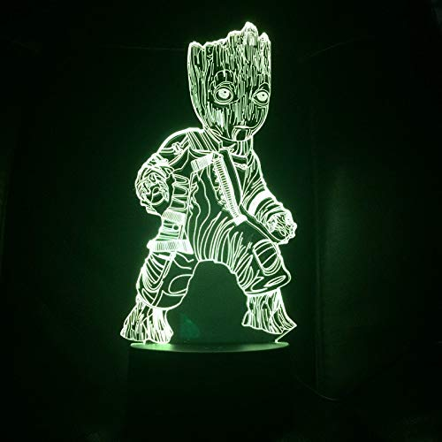 Nur 1 Stück Superhelden Film Super Heroe Tree Man Groot Figur 3d Illusion USB 3d LED Nachtlicht Multicolor Rgb Tischlampe Schlafzimmer Neon