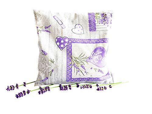 Gerüche-Küche Lavendelkissen grau - Duftkissen handgenäht mit 85g Lavendelblüten aus der Provence