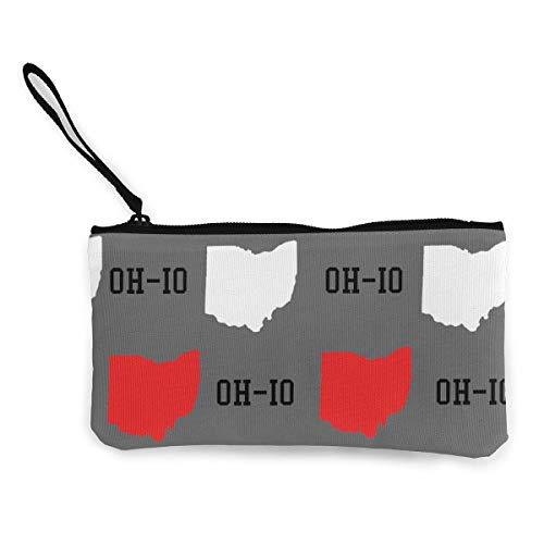 XCNGG Monederos Bolsa de Almacenamiento Shell Unisex Canvas Wristlet Wallet Clutch Purse Coin Pouch Pencil Bag Cosmetic Bag New Oh-Io State Gray