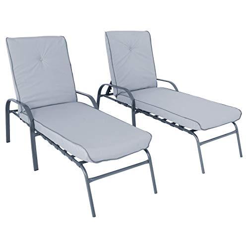 Hodge & Hodge Azuma Cadiz Grey Sun Loungers Set 2 Adjustable Recliners Metal Garden Patio Furniture