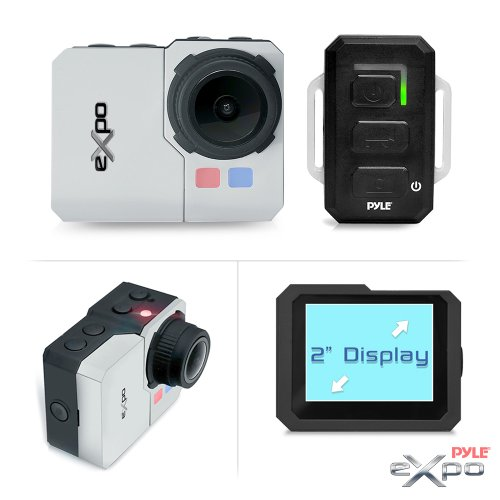 Pyle Expo Sports Action Camera - HD 1080P Mini Hi-Res Camcorder w/ Wifi, 20MP Cam, 2