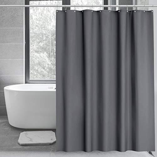 WELTRXE PEVA Duschvorhang mit Magneten, robuster 8G Kunststoff Duschvorhang mit Haken für Badezimmer, Badewanne, kein Geruch, 72 x 72 cm, grau