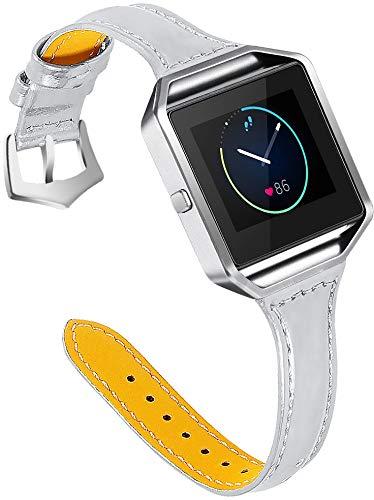Correa de Reloj Compatible con Fitbit Blaze, Reloj de Pulsera de Piel auténtica, Estilo Vintage (Pattern 2)