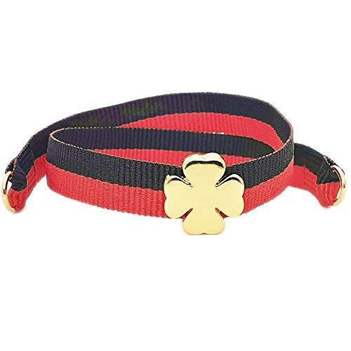 Nora Pfeiffer Armband Grün/Rot zum Knoten aus Stoff mit Glücksklee-Charm aus vergoldetem nickelfreiem Messing