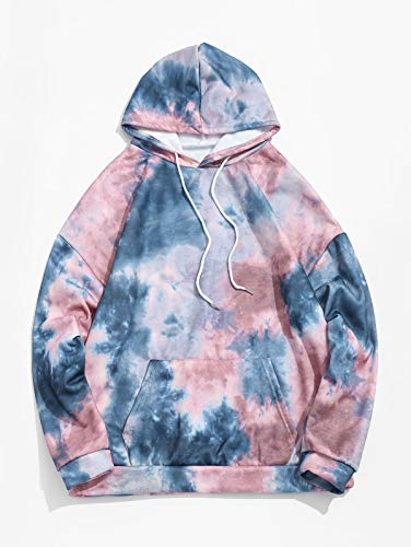 ZAFUL Men's Tie Dye Fleece Hoodies Unisex Long Sleeves Drop Shoulder Pullover Drawstring Hooded Sweatshirts with Pocket