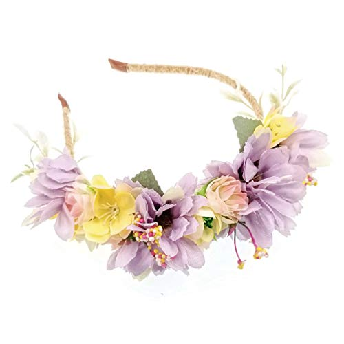 JZK Púrpura flores corona diadema tiara guirnalda tocado guirnalda floral para mujer niña boda fiesta en la playa fotografía de vacaciones accesorio