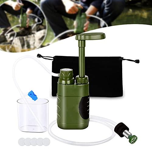 Fujida Filtro de campo purificador de agua 4 etapas de filtro portátil al aire libre emergencia supervivencia equipo adecuado para acampar senderismo