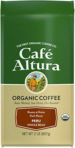 Cafe Altura Whole Bean Organic Coffee, Peruvian Dark Roast, 2 Pound