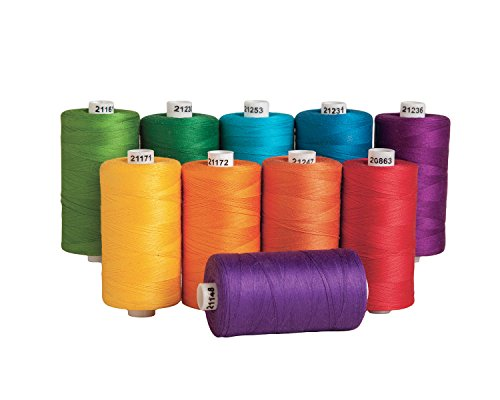 Buy Cheap Connecting Threads 100% Cotton Thread Sets - 1200 Yard Spools (Set of 10 - Color Wheel)