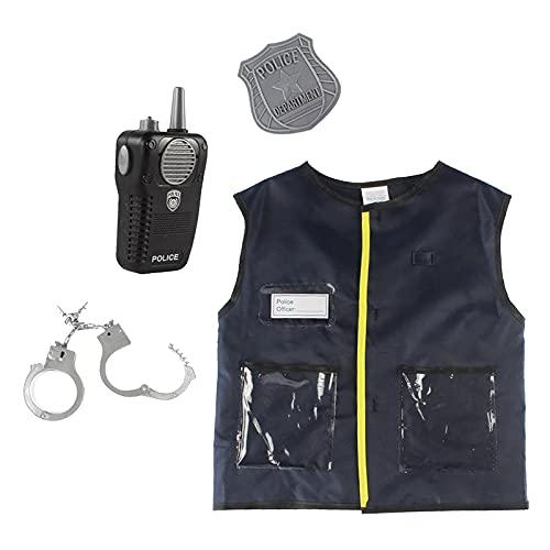 Perfeclan 4 piezas traje de oficial de policía para niños juego de rol vestido accesorios de disfraz, edades 3-6 años negro