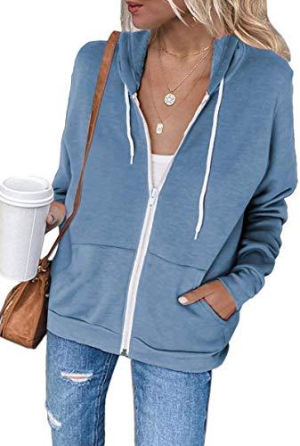 Women's Lightweight Coat Casual Long Sleeve Solid Color Zip-Up Pocket Hoodie Jacket Sweatshirt,Skyblue,L