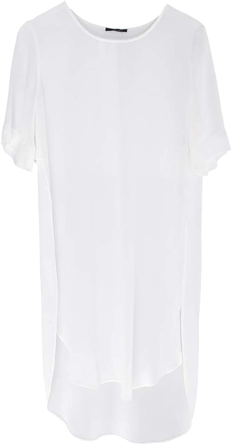 Lounge The Label Tunic Tuscany  White Long Loose TShirt, SeeThrough Basic Casual Top, 3 4 Sleeves Relaxed Fit