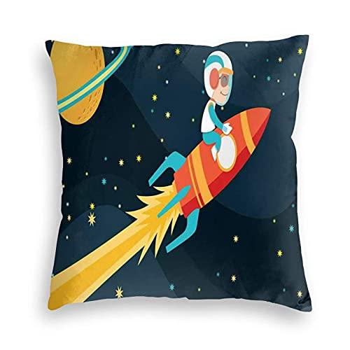 Tcerlcir Fundas Decorativas para Cojines, Funda de cojín para niño, Cohete Espacial en el Espacio, Viaje Infantil, exploración del Universo, Tema para sofá, Dormitorio, Coche, 18 x 18 Pulgadas