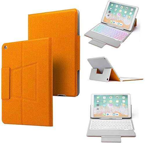 Lidada Keyboard Case for iPad 10.2 inch, Ultra Slim Smart Bluetooth Keyboard Shell with Auto Sleep/Wake Undetachable PU Magnetic Flip Stand Cover for 2019 iPad 10.2' 7th (Orange)