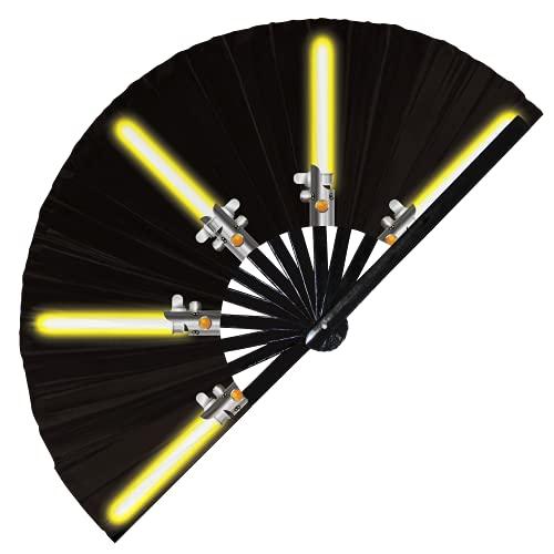 Abanico de luz plegable de bambú de mano Galaxy Laser Sword Fan Lazy Cosplay Disfraz de Halloween Abanicos de mano Regalos Circuito Rave Accesorios para Festival (Fan Saber 2 Amarillo)