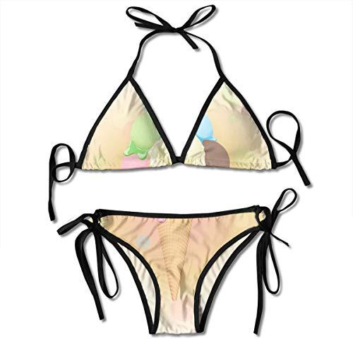Hipiyoled Frauen Multicolor Poster - Waffeleis Zweiteiler Damen-Sets Zweiteilige Bikini-Sets mit Shorts Badebekleidung
