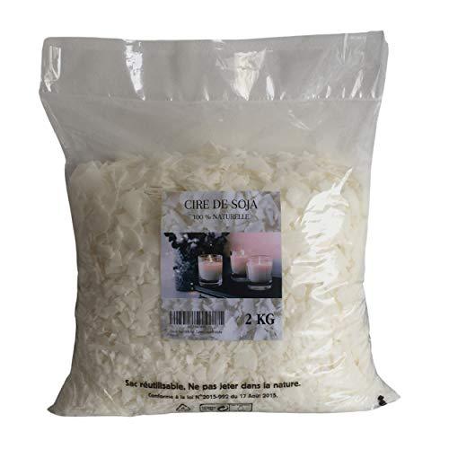 Cera de soja 100 % natural – 2 kg – copos – Cera vegetal y ecológica para la fabricación y creación de tus velas – Combusción limpia y no tóxica – Idea de regalo creativo para adultos