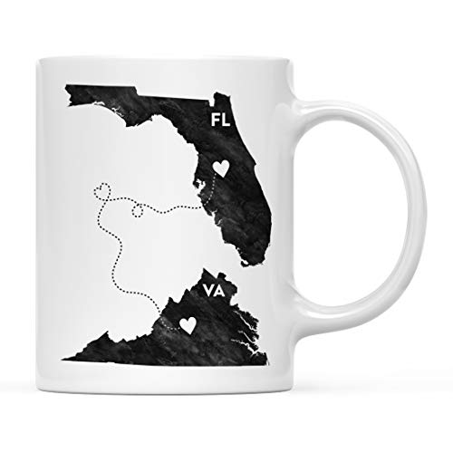 Andaz Press 11oz. Coffee Mug Long Distance Gift, Florida and Virginia, Black and White Modern, 1-Pack, Moving Away Graduation University College Gifts for Him Her Relationships