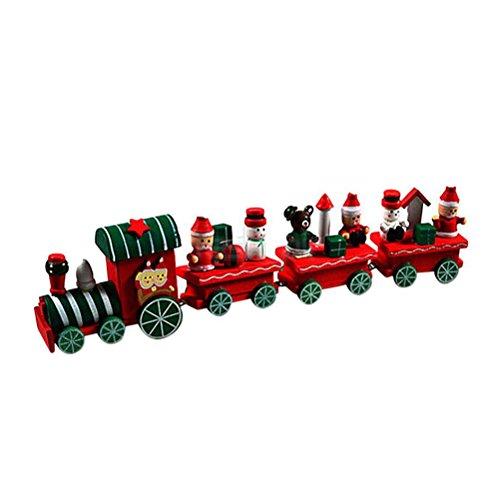 Tinksky Trenino in Legno Natale con Babbo Natale Pupazzo di Neve Natale Decorazione Giocattolo