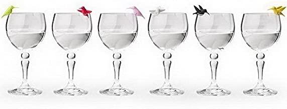 Wine Charms Hummingbird Glass Marker by Qualy Design Studio. Set of 6 Unusual Wine Glass Identifiers. Multicolor. Unique Bird Wine Glass Markers.
