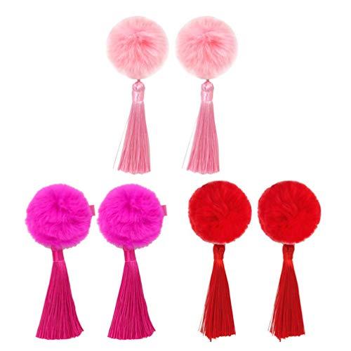 Minkissy 3 Paires Filles Pinces à Cheveux Style Chinois Gland Pompon Épingles à Cheveux Enfants Cheongsam Cheveux Accessoires Épingles à Cheveux pour