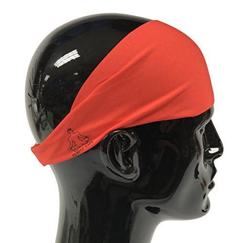 Temple Tape Headbands for Men and Women - Mens Sweatband & Sports Headband Moisture Wicking Workout Sweatbands for Running, Cross Training, Yoga and Bike Helmet Friendly - Red