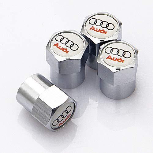 RacePace - Tapones antipolvo para válvulas (4 unidades), color cromado Para coches Audi A1, A3, A4, A5, A6 y Audi TT Quattro Q2, Q3, Q5 y Q7.