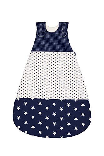ULLENBOOM Saco de dormir de bebé para el verano Estrellas Azules - Saco de dormir de bebé para el verano hecho de algodón, cómodo saco de dormir para bebés, tamaño: 80 a 86