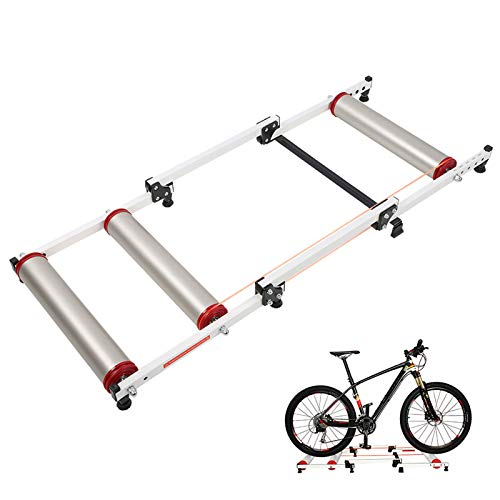Bike Rollers Bike Resistance Trainers, Retractable Bicycle Rollers Folding Rollers, Adjustable Bike Trainer Stand Foldable Indoor Cycling Bicycle Roller with Resistance, Aluminum Alloy Rollers Trainer