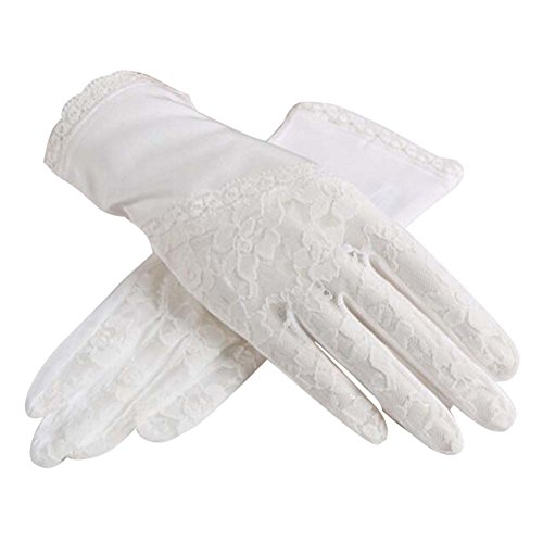 Black Temptation Gants de Soleil de Style Mince et Court utilisent en été Anti-UV et écran Tactile, Blanc