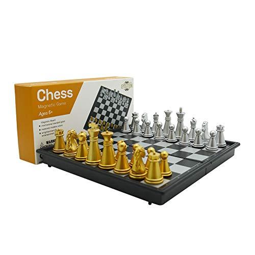 Toynspring チェス 国際チェス チェスゲームセット チェスセット マグネット式チェスゲーム ミニコマ ミニサイズ チェスボード 折りたたみ収納ボード プラスチック製 知育おもちゃ 脳を鍛える 脳トレ 子供・初心者向け