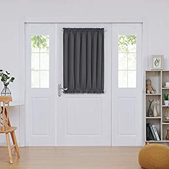 Deconovo Door Curtains - Thermal Insulated Blackout & Door Window Curtain Panel with Tieback  54x40 in Dark Grey 1 Panel