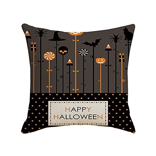 Funda de Almohada de Halloween 45x45cm Asiento Dormitorio Pareja Funda de cojín (Etiqueta) -Sin Almohada