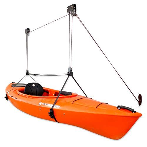StoreYourBoard Kayak Ceiling Storage Hoist, Hi Lift Home and Garage Hanging Pulley Rack, Pro
