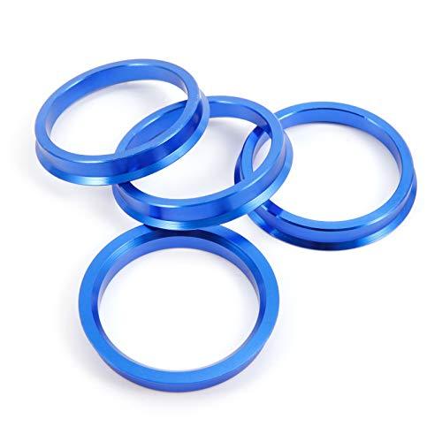 SurePromise 4 Alloy Hub Centric Rings Car Wheel Bore Center Spacers Spigot Centering Ring Aluminium Rim (Blue, 57.1-66.6 mm)