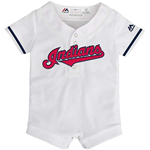 Outerstuff MLB Newborn Infants Cool Base Home Alternate Romper Jersey (24Months, Cleveland Indians Home White)
