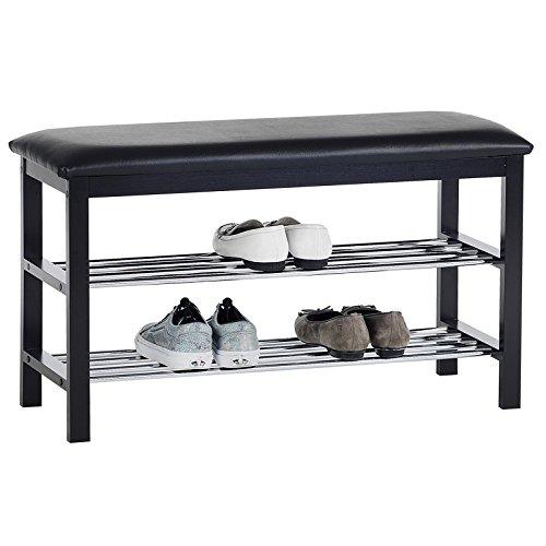 IDIMEX Sitzbank Schuhbank SANA, in schwarz mit gepolsterter Sitzfläche und 2 Schuhablagen