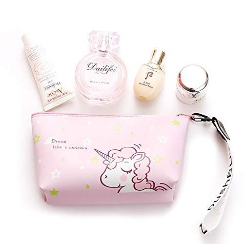 Bolsa unicornio rosa maquillaje viaje organizador cosméticos porte-crayon portátil Pouch PU Cuero Bolso cepillo de almacenamiento cas para les Mujer Niña Bolsa