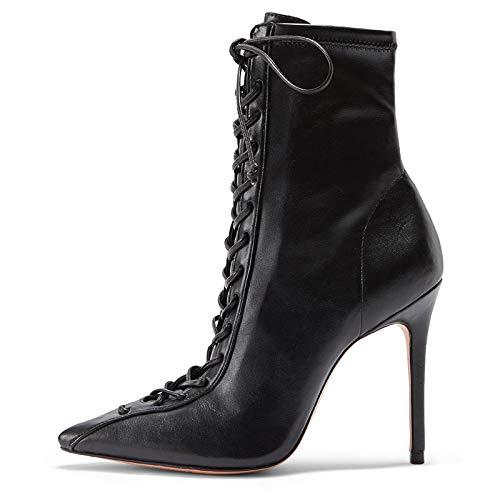 Niuyy Femme Mode Bottes Lacets Bottine à Talon Haut Aiguille Sexy Lacet Grande Taille Cheville Noir Stiletto Boots Perforée,1,15.5/EU46