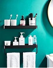 Hylulu 2 stuks doucheplanken zonder boren aluminium doucheplanken badkamerrek met handdoekhouder douchemand zelfklevende badkamer organizer plank voor badkamer keuken balkon zwart 40 cm