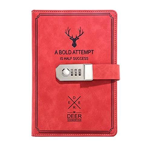 FEANG Cuaderno de diario para el trabajo, cuaderno de autoayuda, cuadernos de cuero para escuela, niño en casa, oficina (8.5 x 5.7 pulgadas), bloc de notas (color rojo)