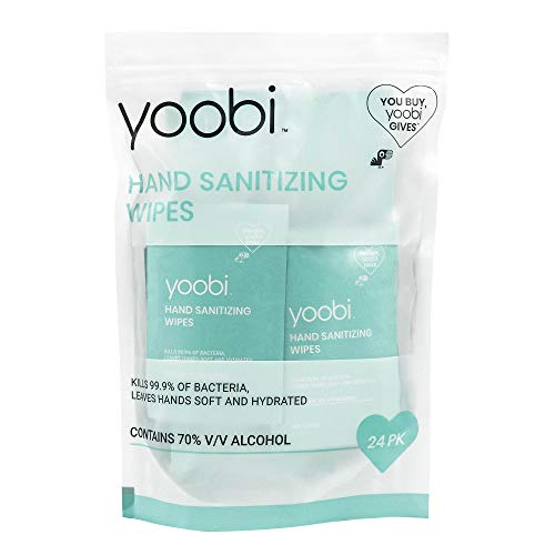 Yoobi | Hand Sanitizer Wipes | Individually Wrapped Travel Packets | 24 Pack