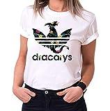 Dracarys Lola - Camiseta para Mujer de Cuello Redondo Targaryen Thrones Game of Stark Lannister Baratheon Daenerys Khaleesi TV BLU-Ray DVD, Größe2:Medium, Farbe2:Blanco