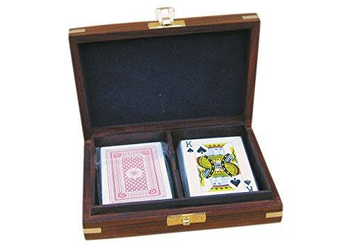Spielkarten-Box Romme aus Holz mit Messingverzierung
