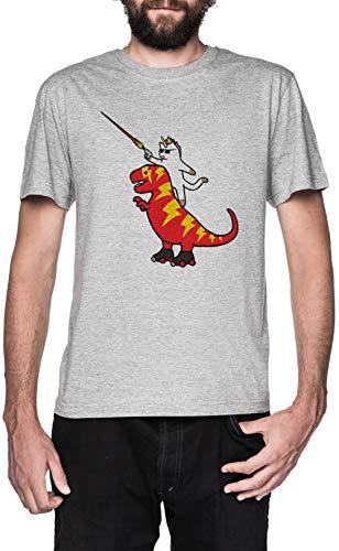 Einhorn Katze Reiten Blitz T-Rex Grau T-Shirt Herren Kurzarm Grey T-Shirt Men's