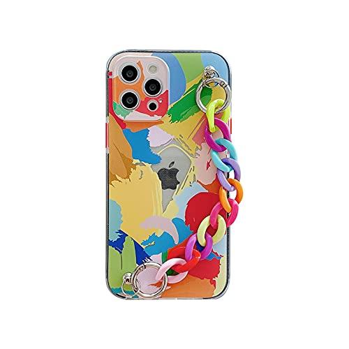 WY673-1-For-iphone12Pro Handy-Schutzhülle für iPhone 12 Mini 7 8 Plus X XR 11 Pro XS Max SE 2020 Bunte Kette Handgelenkschlaufe Soft Cover