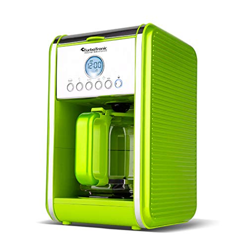 TurboTronic TT-CM12 Programmeerbare Koffiemachine 900W instelbare koffiesterkte, 12 koppen, 1,8L inhoud, automatische reinigingsfunctie, 12 uurs timer, LCD display, automatische uitschakeling, herbruikbare filter- Groen